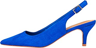 Marypaz - Salon à talon semi-couvert pour femme - Bleu