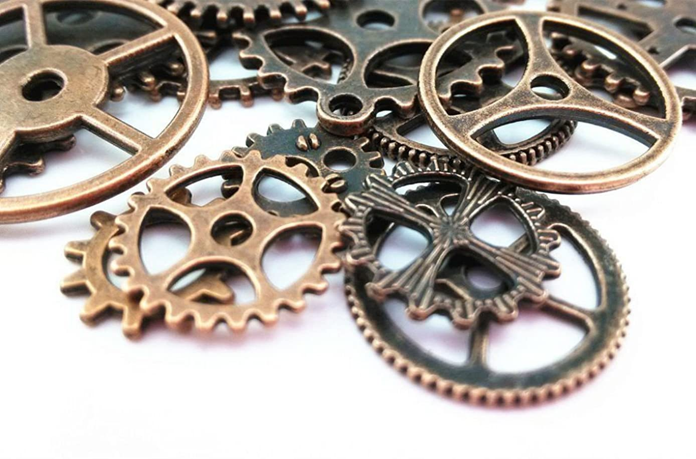 AKOAK 100 Gram Mix Style Antique Steampunk Gears Charms Clock Watch Wheel Gear Pendant Charms for DIY Craft (Red Copper)