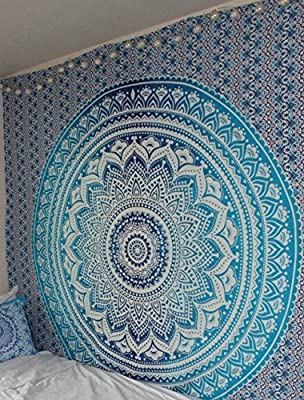 Blue Ombre Tapestry Hippie Mandala Bohemian Psychedelic tapestry wall hangings wall art Ethnic Dorm Decor Indian Bedspread Magical Thinking Tapestry Beach Blanket picnic by Jaipur Handloom