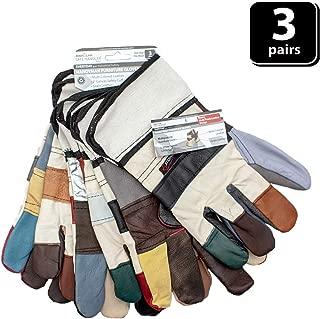 SAFE HANDLER Handyman Furniture Gloves | Multi-Colored Leather Work Gloves, 3