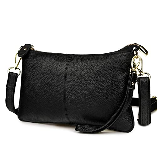 a1e5d1176fd Mynos Fashion Genuine leather Crossbody Bag for Women Small Wristlet Clutch  Purse Phone Wallets
