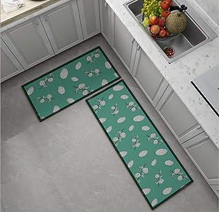 قطعتان من سجادة المطبخ سجادة حمام مانعة للانزلاق ومدخل باب مقاوم للاهتراء ، ماكينة قابلة للغسل بنمط مخروط الصنوبر 60 * 90 ...