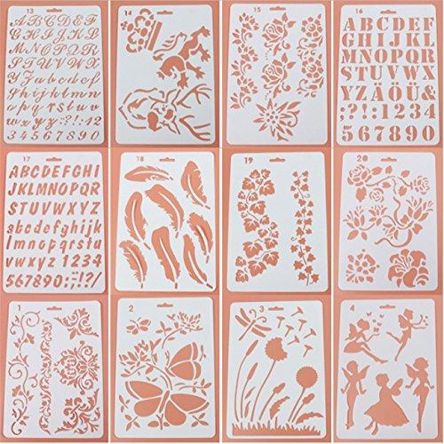 Schablonen-Set, 12 Stück, Kunststoff-Vorlagen zum Selber-Basteln, Zeichnungsvorlagen für Tagebuch, Scrapbook und Notizbuch
