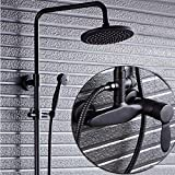 Temperatura constante latón ducha conjunto negro grifo ducha caño inversor mezclador norte Europa