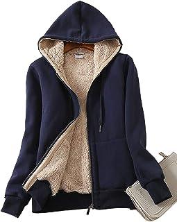 Gihuo Women's Sherpa Fleece Lined Hoodie Zip Up Hooded Sweatshirt Jacket
