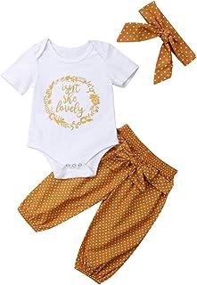 Isnt She Lovely 0-18M Infant Newborn Baby Girl Short Sleeve Cotton Bodysuit Tops Floral Pant Headband