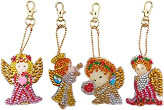 Colorzonesd 4Pcs DIY Angel Theme Educational Toy Hand Made Christmas 5D Diamond Painting Keyring Key Chain Pendant Gift