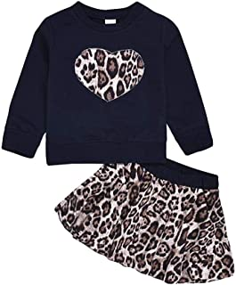 Dubasam Fashion Kids Toddler Baby Girl Valentine's Day Outfit, Heart Sweatshirt Tops+ Leopard Skirt Clothes 1-5T