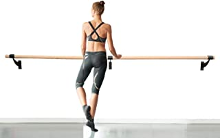 "Ballet Barre 4 FT Long Single Wooden Bar Black 2.0"" Diameter - Wall Mount Ballet Barre Fixed Height for Home or Studio Bal..."