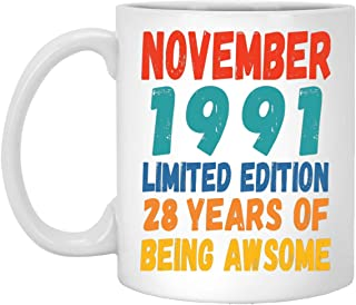 Happy 28th Birthday Gifts for Men Women Turning 28 Years Old Born in November 1991 Coffee Mug White 11oz