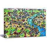DKISEE - Lienzo decorativo para pared, diseño de mapa de Londres, madera, para casa, oficina, sala de estar, dormitorio, decoración de 40,6 x 61 cm