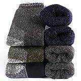 Mens Merino Wool Thermal Socks - Soft Warm Fuzzy Winter Heavy Cushion Hiking Socks (Multi1-Super Thick 3pack)