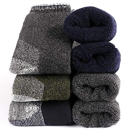 Calcetines térmicos de lana merino para hombre, suaves, cálidos y difusos, acolchados pesados, para senderismo - Multi color - Medium