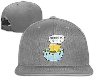 Aiguan Chip & Dip Funny Flat Visor Baseball Cap, Designed Snapback Hat Black