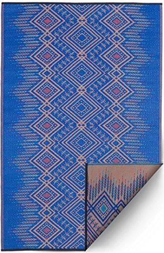 Fab Habitat Reversible Rugs - Indoor or Outdoor Use - Stain Resistant, Easy to Clean Weather Resistant Floor Mats - Jodhpur - Blue, 5' x 8'