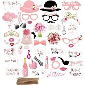 Amycute 44 pcs Boda Photo Booth Props, DIY Bigotes Gafas Sombreros ...