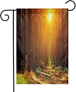 Zzmdear Personality Garden Flag, Small Garden Outdoor Decorative Flags, Sunset Dawn Sun Rise Beams in Forest Tree Nature Plants Print Image, Earth Yellow Dark Orange, 12