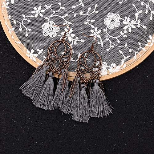 Damen Ohrringe retro böhmischen ethnischen Stil eleganten Urlaub su Feder Ohrring Ohrringe veilchen
