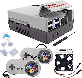 MakerFun Retro Gaming Nes4Pi Caja con USB Controladores para RPi 4B, Raspberry Pi 4 Cajas con Ventilador,Raspberry Pi Vent...