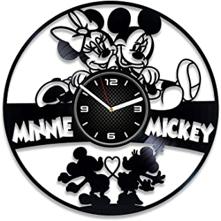 DecorStudioUA Mickey and Minnie Mouse Clock Mickey Mouse Wall Clock Birthday Gift Disney Gift for Kids Minnie Mouse Vinyl Record Wall Clock Disney Vinyl Clock Mickey Mouse Vinyl Clock 12 inch