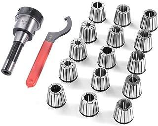 Homgrace 15 Pcs Collet Set R8 Shank ER40 Collet Chuck Holder Spring Collet Set for CNC Engraving Machine & Milling Lathe Tool (15 pieces grey-black)
