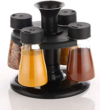 ATMAN Plastic Revolving Spice Jar Masala Containers Rack Condiment Set for Kitchen Pack of 4 (Black_125 ML)