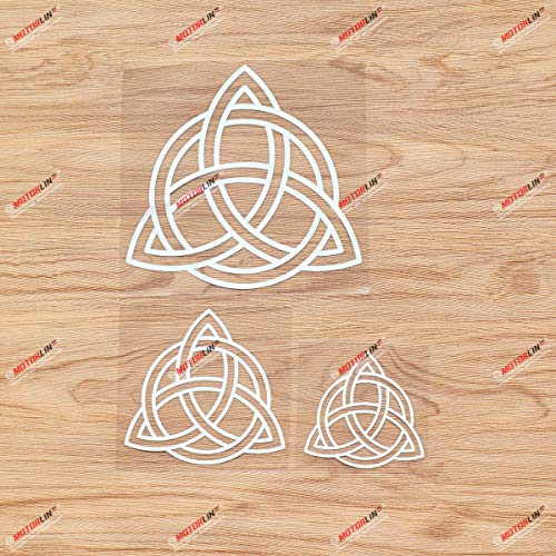 Triquetra Celtic Trinity Knot Symbol Vinyl Decal Sticker - 3 Pack White, 3 Inches, 4 Inches, 6 Inches - No Background for Car Laptop Window Phone 06200