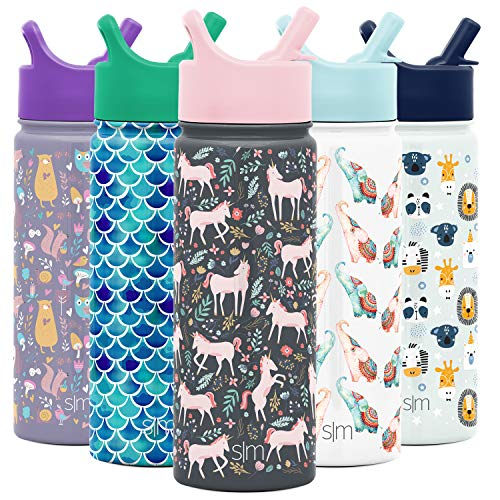 Simple Modern 18oz Summit Kids Water Bottle Thermos with Straw Lid - Dishwasher Safe Vacuum Insulated Double Wall Tumbler Travel Cup 18/8 Stainless Steel -Unicorn Fields -  SMC-S-18-UF