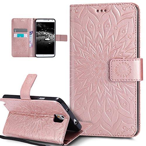 Kompatibel mit Galaxy Note 3 Hülle,Galaxy Note 3 Schutzhülle,Prägung Mandala Blumen Sonnenblume PU Lederhülle Flip Hülle Cover Ständer Etui Wallet Tasche Hülle Schutzhülle für Galaxy Note 3,Rose Gold