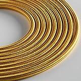 Klartext – Cable textil redondo luminoso para iluminación, 3 x 0,75 mm, dorado, 3 m. Atención: cable tierra incluido. Máxima seguridad a prueba de golpes.