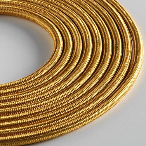 Klartext – Cable textil redondo luminoso para iluminación, 3 x 0,75 mm, dorado, 5 m. Atención: cable tierra incluido. Máxima seguridad a prueba de golpes.
