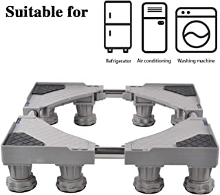 LUCKUP Multi-functional Movable Adjustable Base with 8 Strong Feet Size Adjustable Universal Mobile Case Roller Dolly for Dryer, Washing Machine and Refrigerator,Grey …