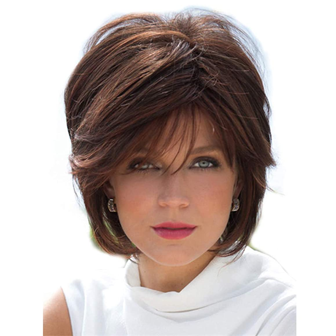 Wig Brown Short Curly Hair for Women Cosplay Natural Looking Heat Resistant Fiber with Free Cap 10.6
