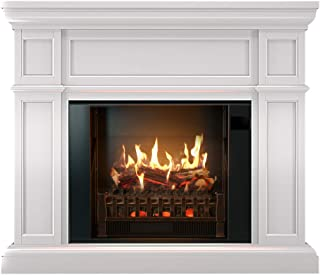 "MagikFlame Most Realistic Electric Fireplaces - Artemis White Electric Fireplace with Mantel Package - Large 52″w x 43″h x 15""d - Includes 4,600 BTU Log Set Heater LED, Crackling Log Sounds, App"