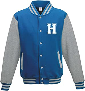 Star and Stripes Custom Initial Varsity Jacket, Personalised Varsity Jacket, Letterman College Jacket Sapphire Blue/Heathe...