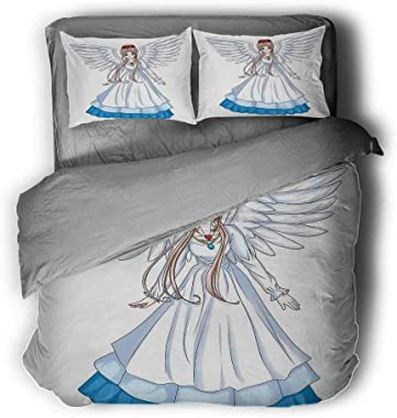 """Anime Bed Lining Cartoon Illustration of Cute Angel Wings and Flowers Fairytale Japanese Manga Print Gray Comforter Queen 104""""x89""""inch White Blue"""