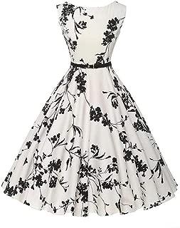 Women's Boatneck Audrey Hepburn 50s Vintage Elegant Floral Rockabilly Swing Cocktail Sleeveless Party Dress with Belt