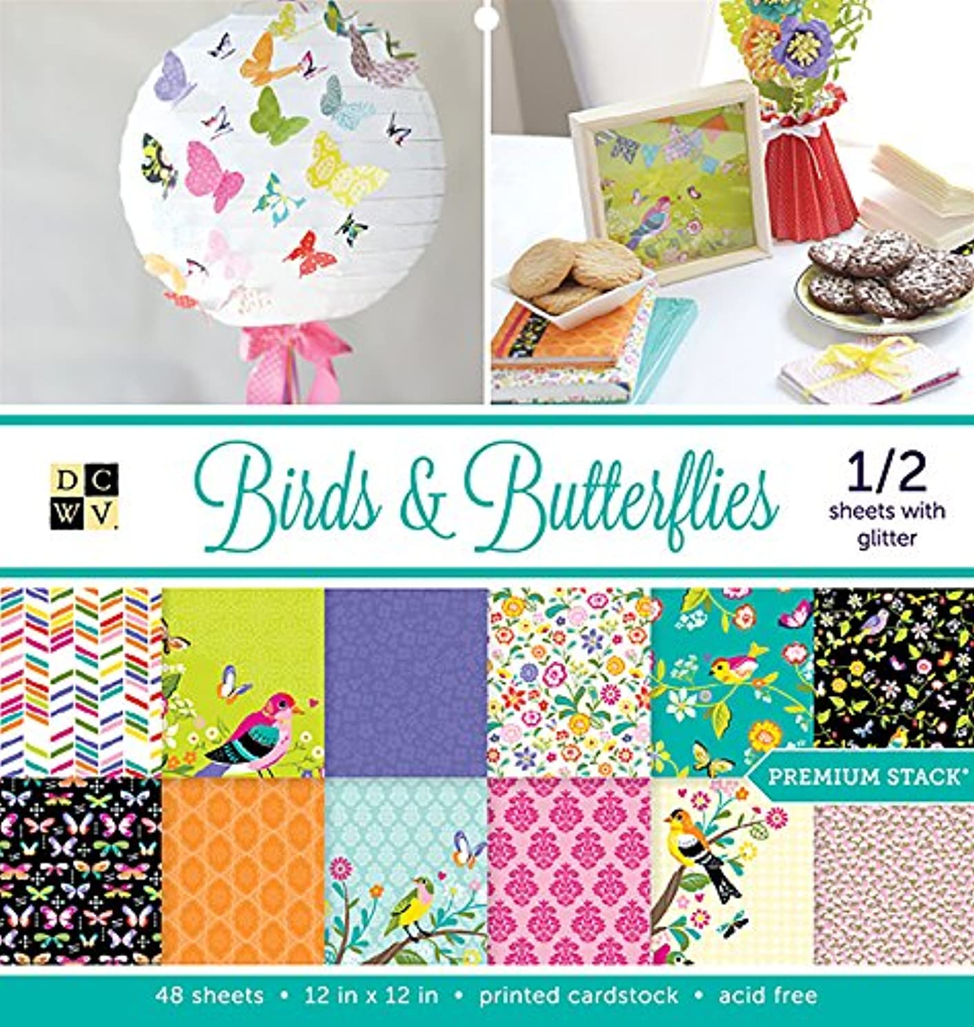 American Crafts 12 x 12 Inch Birds & Butterflies 48 Sheets Die Cuts with a View Stacks, 12