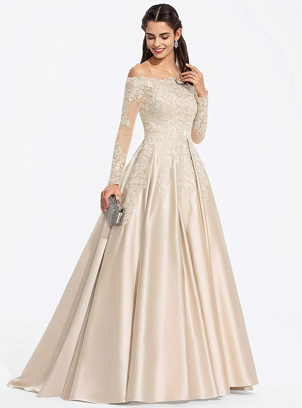 Miao Duo Women's Off The Shoulder Lace Appliuqes Satin Prom Dresses with Long Sleeve Formal Party Gowns MDPM3234