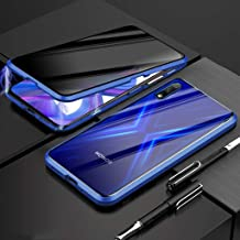 EUDTH Huawei Honor 9X Case, Anti-peep Case Magnetic Adsorption Metal Frame + Tempered Glass Cover Full Body Protective Case for Huawei Honor 9X (Blue)