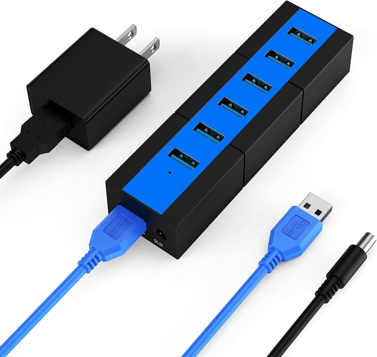USB 3.0 Hub K&ZZ 6 Port 10W Data Hub Powered USB Hub USB Port Expander USB Splitter for Laptop, PC, Mobile HDD, USB Flash Drive, Blue