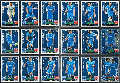 Champions League Match Attax Topps 15/16 Football Club Zenit Team Base Set 2015/2016 Including Star Player & Duo Trading Cards