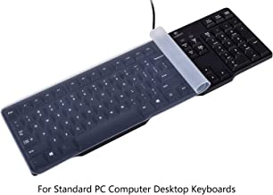"Universal Clear Waterproof Anti-Dust Silicone Keyboard Protector Cover Skin for Standard Size PC Computer Desktop Keyboards (Size: 17.52"" x 5.51"")"