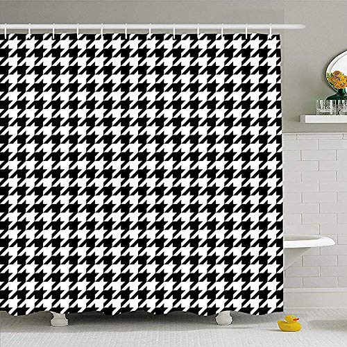 """72"""" x 79"""" Shower Curtain Geometric Black White Houndstooth Pattern Classical Retro Scarf Plaid Abstract Checked Checkered Waterproof Polyester Fabric Bathroom Curtains Set with Hooks"""