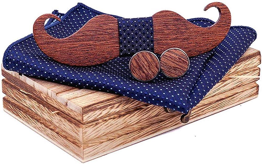 TORMROAD(TM) Handmade Mustache Wooden BowTie Necktie with Matching Pocket Square Men's Cufflinks Set TZ004