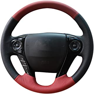 XuJi Hand Sewing Black Red Genuine Leather Car Steering Wheel Cover for Honda Accord 9 Odyssey Crosstour 2013-2016 Pilot 2016 2017