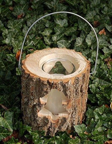 Sesua Holzlaterne Windlicht im Baumstamm mit Glas und Kerze (Weihnachtsbaum)