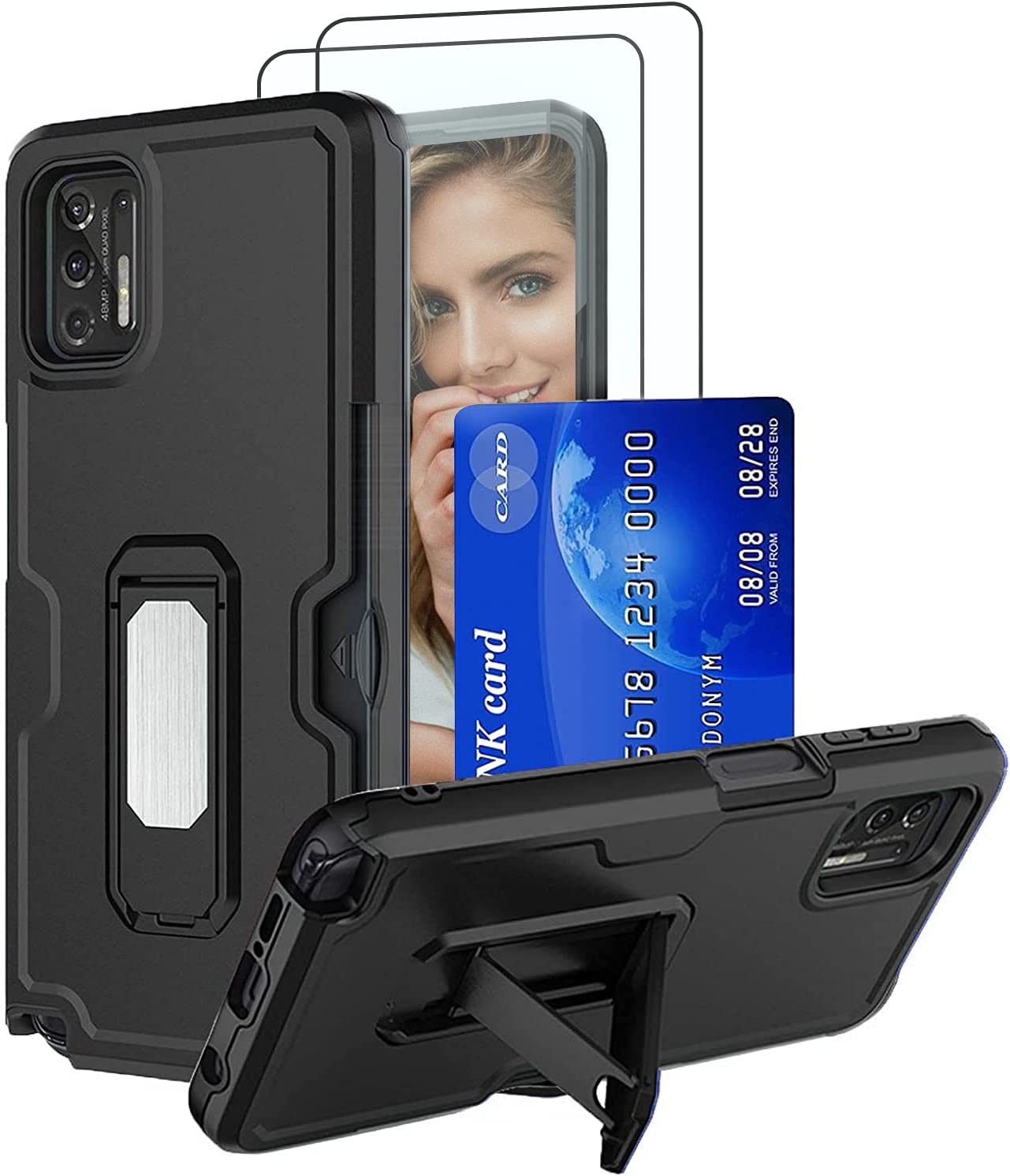 REAMOUNT Case for Samsung Galaxy A52 4G & 5G 2021 with Tempered Glass Screen Protector [2 Pack], Dual Layer Shockproof Built in Kickstand Case with Card Slot Holder for Galaxy A52 (Black)