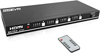 HDMI Matrix 4x4 HDMI Matrix Switch HDMI Splitter RS232 at 60Hz 1.3V Certified for Full HD 1080P with IR Remote Control Switch