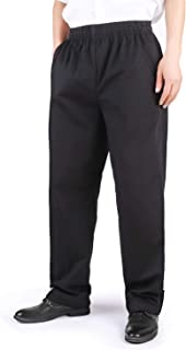 SSYU Chef Pants Men's Chef Uniforms Works Black Classic Elastic Waist